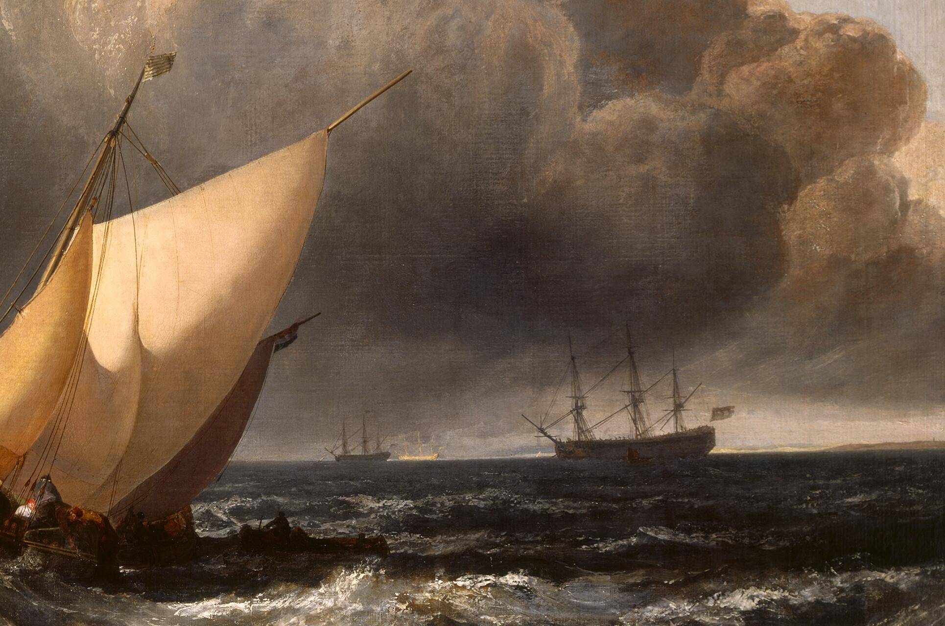 "Joseph Mallord William Turner, <i>Dutch Boats in a Gale (""The Bridgewater Sea Piece"")</i>, 1801, oil on canvas, 162.5 x 221 cm. Collection of National Gallery, on loan from a private collection (L297). Digital image courtesy of National Gallery, London (All rights reserved)."