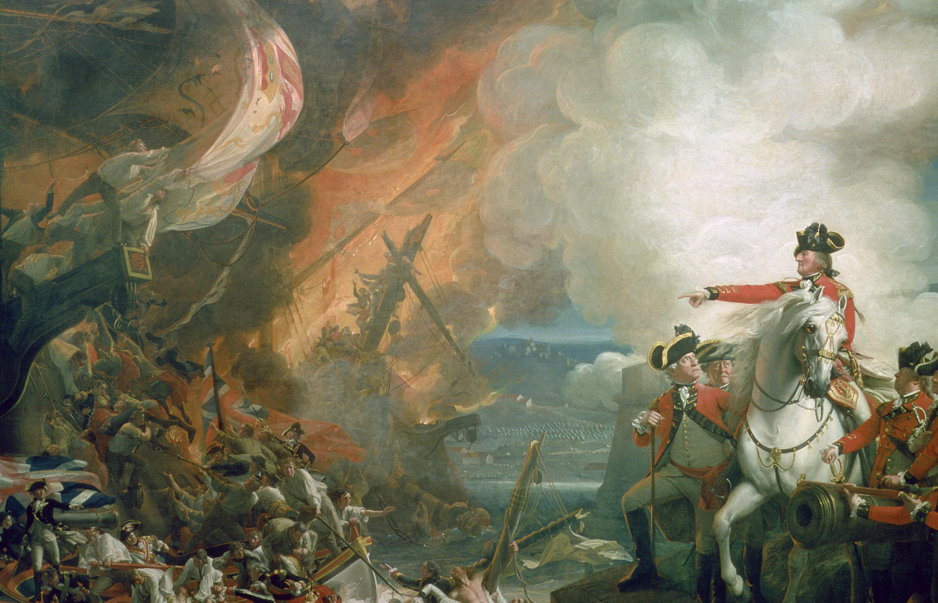 John Singleton Copley, <i>The Siege of Gibraltar</i>, 1791, oil on canvas, 544 x 754 cm. Collection of Guildhall Art Gallery, City of London (43). Digital image courtesy of Guildhall Art Gallery, City of London | Bridgeman Images (All rights reserved).