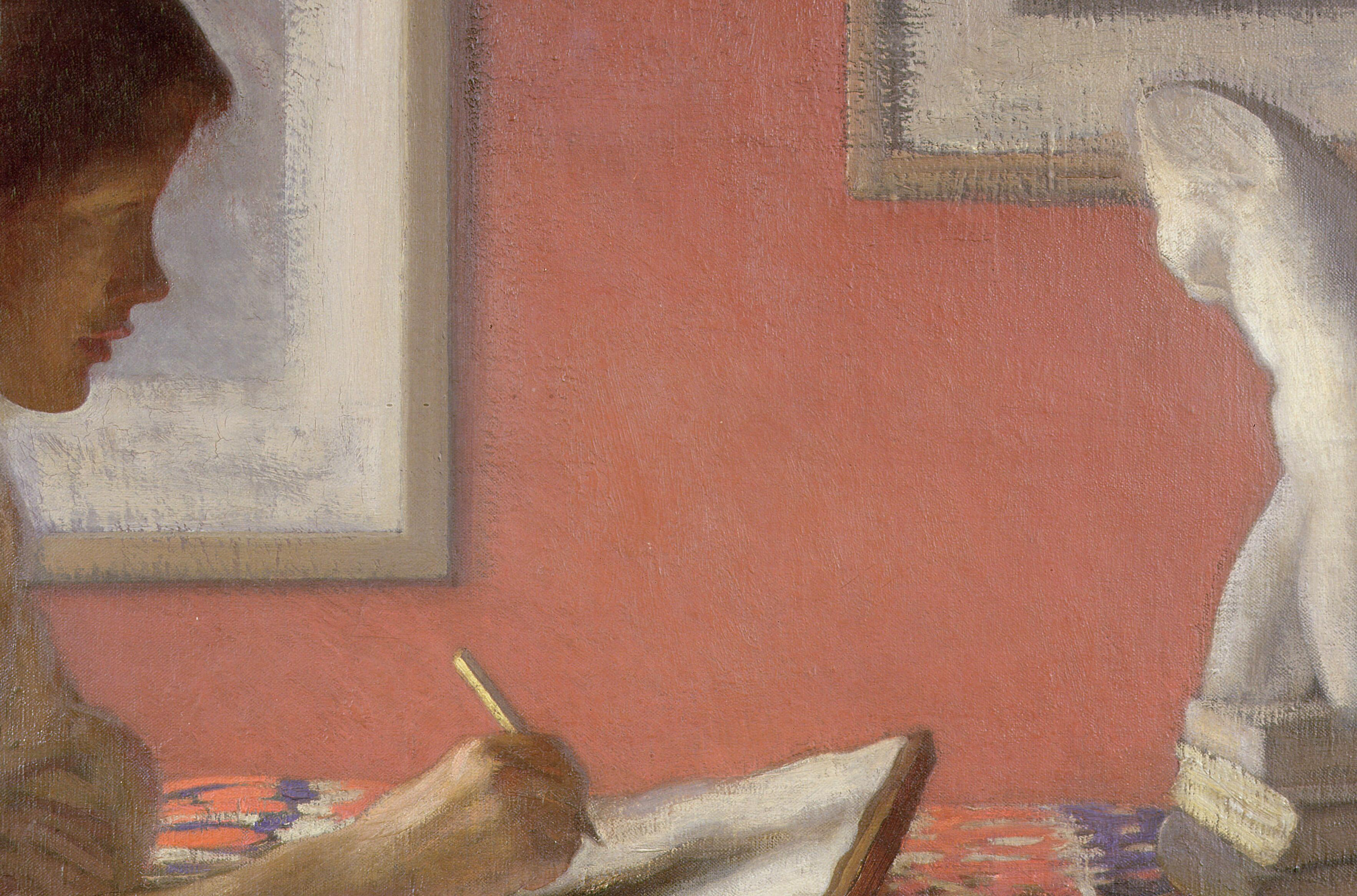 George Clausen, <i>The Student</i>, ca. 1908, oil on canvas, 64.2 x 76.5 cm. Collection of Brighton and Hove Museums and Art Galleries (FA001137). Digital image courtesy of Bridgeman Images (All rights reserved).