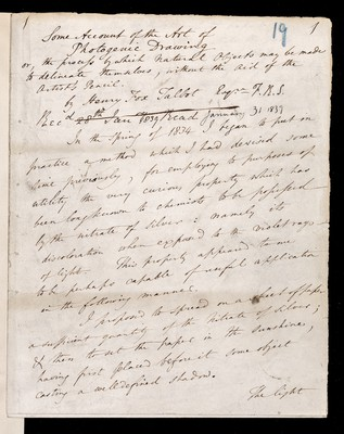 Some account of Photogenic Drawing or, the process of which Natural Objects may be made to delineate themselves, without the aid of the Artist's Pencil by Henry Fox Talbot Esq. FRS