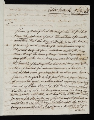 Letter from Henry Brougham (later Baron Brougham and Vaux), Edinburgh to Charles Blagden, London
