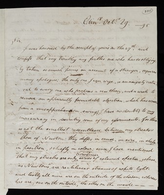 Letter from Henry Brougham (later Baron Brougham and Vaux), Edinburgh to Charles Blagden, Royal Society, Somerset Place, London