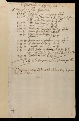 Observations of the solar eclipse on 27 November 1722 by Edmond Halley