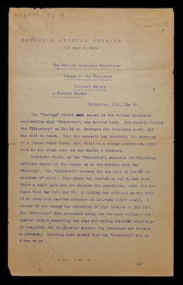 Official Report of the Voyage of the Discovery sent by Reuters