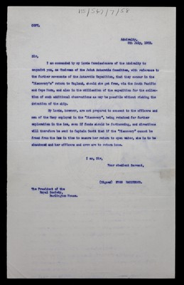 Letter from Evan MacGregor  of the Admiralty to The President of the Royal Society