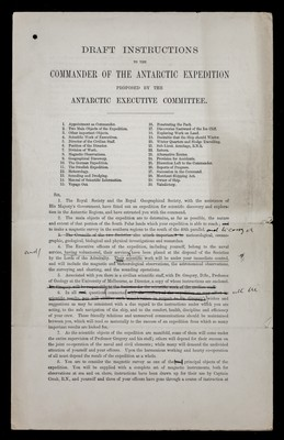 Draft instructions to the Commander of the Antarctic expedition proposed by the Antarctic Executive Committee