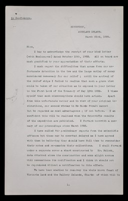 Letter from Robert Falcon Scott, 'Discovery', Auckland Island, [New Zealand], to the Presidents of the Royal Society and the Royal Geographical Society