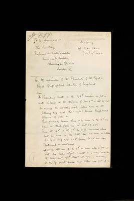Expedition report from Captain Robert Falcon Scott to the Secretary of the National Antarctic Expedition, University Building, Burlington Gardens, London