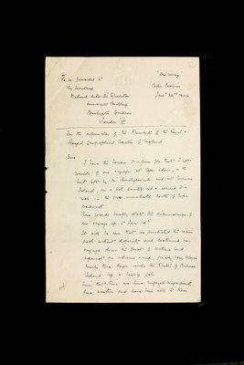 Expedition report by Captain Robert Falcon Scott to the Secretary of the National Antarctic Expedition, University Building, Burlington Gardens, London