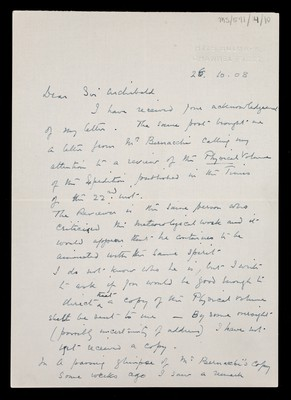 Letter from Robert Falcon Scott, H.M.S. Bulwark, Channel Fleet, to Sir Archibald [Geikie]