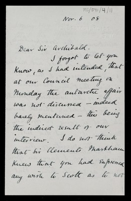 Letter from Leonard Darwin, President Royal Geographic Society, 12 Egerton Place, London, to Sir Archibald [Geikie]