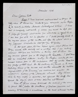 Letter from [Archibald Geikie], Secretary, Royal Society, to Robert Falcon Scott, H.M.S. Bulwark, Channel Fleet