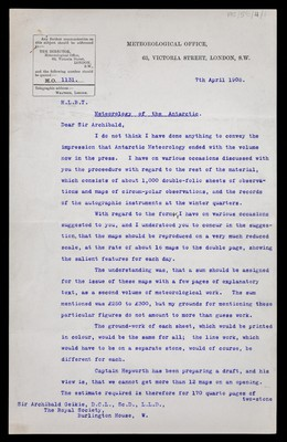 Letter from William Napier Shaw, Meteorological Office, 63 Victoria Street, London, to Sir Archibald [Geikie], Royal Society, Burlington House, London