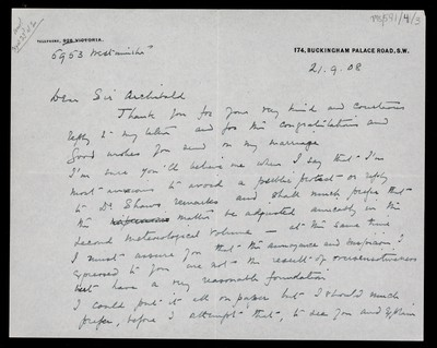 Letter from Robert Falcon Scott, 174 Buckingham Palace Road, London, to Sir Archibald [Geikie]