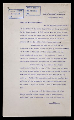 Letter from Robert Falcon Scott, H.M.S. Bulwark, Channel Fleet, to Sir Archibald Geikie, Secretary Royal Society