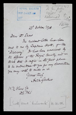 Letter from Archibald Geikie, Secretary Royal Society, to Dr. [William Napier] Shaw