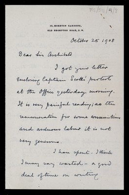 Letter from William Napier Shaw, 10 Moreton Gardens, Old Brompton Road, London, to Sir Archibald [Geikie]