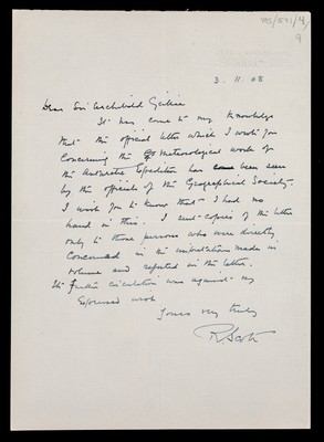 Letter from Robert Falcon Scott, H.M.S. Bulwark, Channel Fleet, to Sir Archibald Geikie, and reply