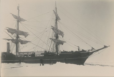 Ship alongside floe in pack ice