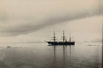 Ship at anchor in Robertson Bay from penguin rookery