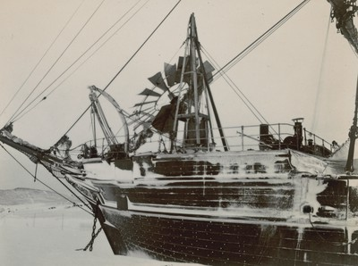Ship showing broken windmill
