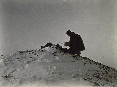 Wilson with thermometer, Crater Hill (2)