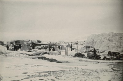Sledge camp in morainic ice