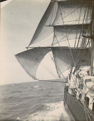 Improvised studding sail in the Westerlies