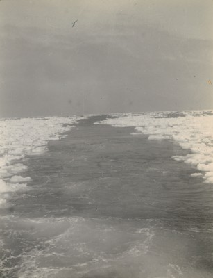 Lane cut by ship through drift ice