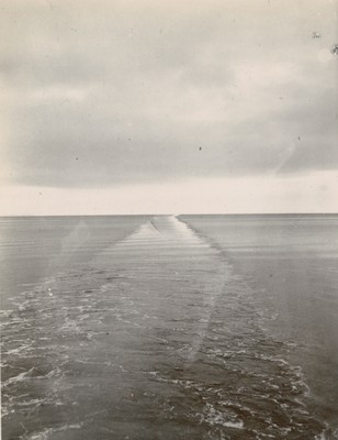 Lane cut by ship through sea
