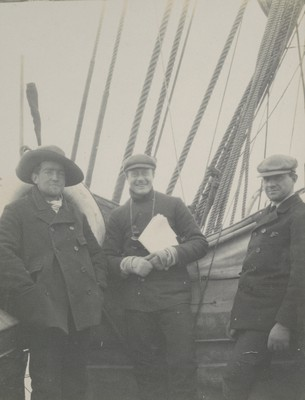 Shackleton, Wilson and Bernacchi on bridge