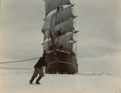 Ship under sail in pack ice