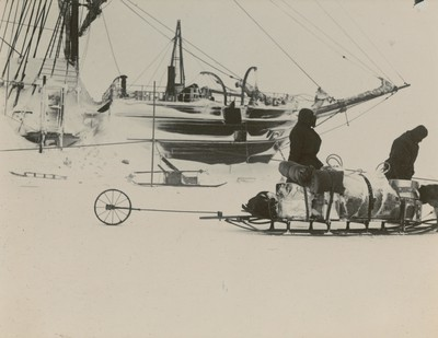 Captain's sledging journey to Erebus Bay, showing sledgemeter behind sledge