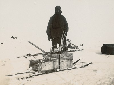 The biologist with sledge and tools
