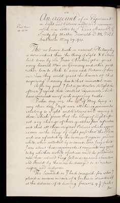 An account of an Experiment on Light and colours' communicated in a letter to Sir Hans Sloane by Marten Triewald