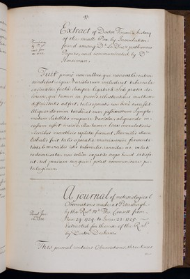 A journal of meteorological Observations made at Petersburgh by the Reverend Mr Thomas Consett, extracted by Dr Derham