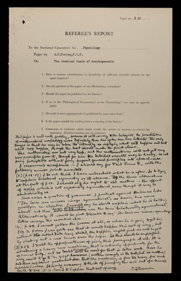 Referee report by C. G. Darwin on 'On the Chemical basis of Morphogenesis' by A. M. Turing