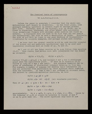 Referee report by J. B. S. Haldane on 'On the Chemical basis of Morphogenesis' by A. M. Turing