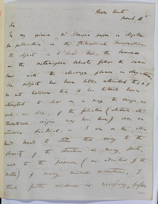 Referee report by C. R. Darwin on 'On the Arrangement of the Foliation and Cleavage of the Rocks of the North of Scotland' by on D. Sharpe