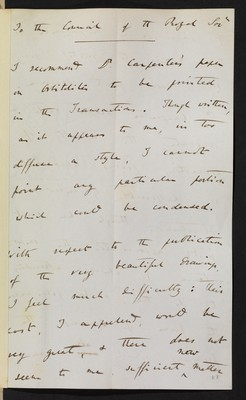First referee report by C. R. Darwin on 'Researches on the Foraminifera' by W. B. Carpenter
