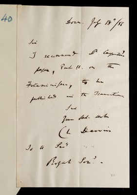 Second referee report by C. R. Darwin on 'Researches on the Foraminifera' by W. B. Carpenter