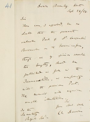 Third referee report by C. R. Darwin on 'Researches on the Foraminifera' by W. B. Carpenter